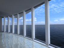 przez ściany szklany morze Zdjęcie Stock