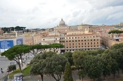 Przez della Conciliazione, świętego Peter ` s kwadrat, St Peter ` s bazylika, świętego Peter ` s bazylika, miasto, niebo, obszar  zdjęcie royalty free