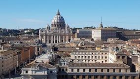 Przez della Conciliazione, St Peter ` s bazylika, świętego Peter ` s kwadrat, świętego Peter ` s bazylika, punkt zwrotny, history obraz stock