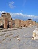 Przez della Fortuna ulicy wewnątrz w antycznym Pompeii Zdjęcia Stock