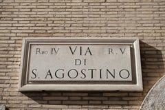 Przez Di Sant ` Agostino w Rzym, Włochy Ulicy imienia znak Obraz Stock