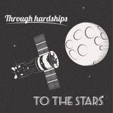 Przez hardships gwiazda druk ja royalty ilustracja