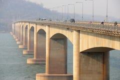 przez rzekę bridżową Lao most, Lao Zdjęcie Stock