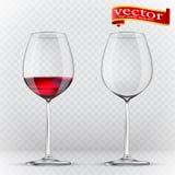 Przezroczystości wina szkło pełne pustego 3d realizm, wektorowa ikona Fotografia Stock