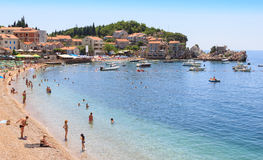PRZNO, BUDVA RIVIERA AREA, MONTENEGRO, AUGUST 2, 2014: Panoramic view of the bay and the beach in Przno.  royalty free stock photos