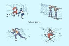 Przyśpiesza łyżwiarstwo, biathlon rywalizacja, hokeja na lodzie dopasowanie, fachowy sportowa narciarstwo, niebezpieczny hobby sz ilustracji