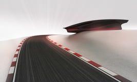 Przyśpiesza tor wyścigów konnych prowadzi outdoors wokoło futurystycznej budynek tapety Obrazy Royalty Free