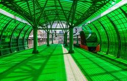 Przyśpieszony pociąg przy zieloną projekt stacją Obrazy Royalty Free