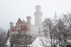 Przy śnieżną zima Neuschwanstein bawarski Kasztel Zdjęcia Royalty Free