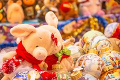 Przy świątecznym jarmarkiem w dziąśle w Moskwa zdjęcia stock