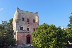 Przy Aegina wyspą Markellos wierza, Grecja Obraz Royalty Free