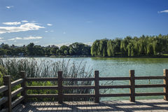 Przy brzeg jeziora drewniana poręczówka Zdjęcia Stock