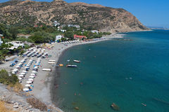 Przy Crete wyspą Agia plaża Galini Obraz Stock