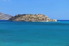 Przy Crete wyspą Spinalonga forteca Fotografia Royalty Free