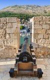 Przy Dubrovnik retro działo, Chorwacja zdjęcie royalty free