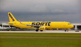 Przy fort lauderdale, Hollywood lotniskiem międzynarodowym Spirytusowe linie lotnicze Aerobus A320/, Floryda zdjęcie stock
