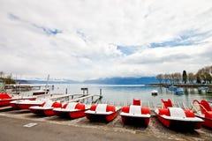 Przy jeziorny Genewa Paddle łodzie Obrazy Royalty Free