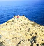 Przy końcówką droga przy Cabo De Sao Vincente w Algarve Obrazy Royalty Free