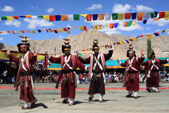 Przy Ladakh festiwalem kulturalny taniec Zdjęcie Stock