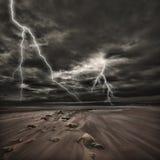 Przy morzem błyskawicowa burza Obrazy Stock