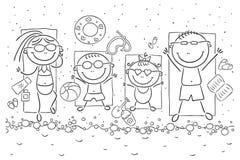 Przy nadmorski szczęśliwa rodzina ilustracja wektor