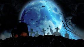 Przy nocą na cmentarz księżyc połysk błyskawicą blisko krzyży jest Halloweenowa bania palenie tło ilustracja wektor