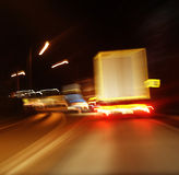 Przy noc autostrady ruch drogowy Fotografia Royalty Free