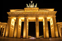 Przy noc Brandenburg Brama Fotografia Royalty Free