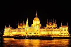 Przy noc Budapest parlament Obraz Royalty Free