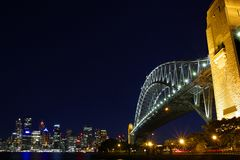 Przy Noc Sydney Most Habour Obrazy Royalty Free