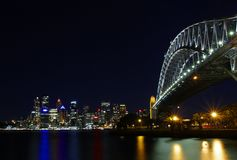 Przy Noc Sydney Most Habour Obrazy Stock