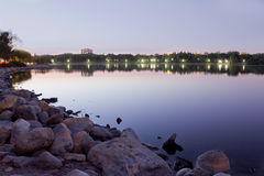 Przy noc wascana jezioro Fotografia Royalty Free