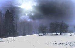 Przy noc zima krajobraz obraz stock