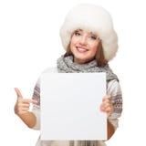 Przy panelem młoda kobieta punkty Obraz Royalty Free