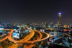 Przy Półmrokiem Bangkok Linia horyzontu Obraz Royalty Free