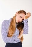 Przy pracą kobiety migrena zdjęcia stock