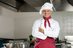 Przy pracą szczęśliwy szef kuchni Zdjęcie Stock