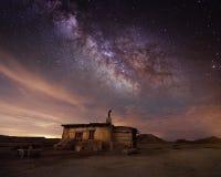 Przy pustynną noc pasterska buda Zdjęcie Royalty Free