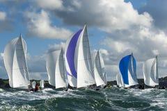 Przy regatta grupowy jacht zdjęcie stock