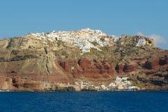Przy Santorini wyspą Oia wioska, Grecja Zdjęcia Royalty Free