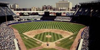 Przy Starym Jankeskim Stadium rocznika spojrzenie, Bronx, NY obrazy royalty free