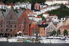 Przy UNESCO światowego dziedzictwa miejscem, Bryggen Obrazy Royalty Free
