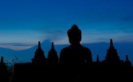 Przy wschód słońca Borobudur świątynia, Jawa, Indonezja Zdjęcia Stock