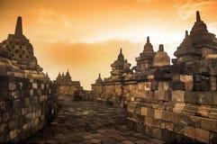 Przy wschód słońca Borobudur świątynia, Jawa, Indonezja Obraz Royalty Free