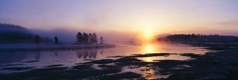 Przy Yellowstone Park Narodowy ranek mgła obrazy royalty free