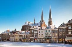 Przy Zima Delft Główny Plac Zdjęcie Royalty Free