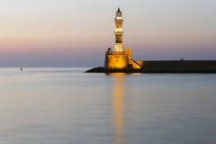 Przy zmierzchem Chania latarnia morska Obrazy Royalty Free