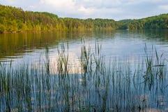 Przy zmierzchem jezioro krajobraz Zdjęcia Stock