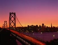 Przy zmierzchem podpalany Most, San Fransisco, CA Zdjęcia Stock
