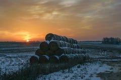 Przy zmierzchem zima krajobraz Obrazy Stock